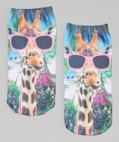 $13 Another great find on #zulily! Green Giraffe with Glasses Sublimation  No-Show Socks #zulilyfinds