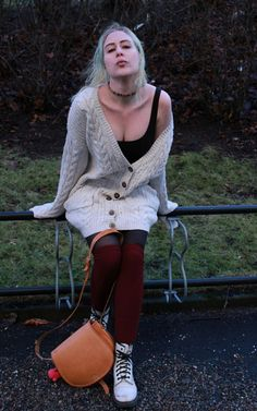 Wearing: Big Sweater And Overknee Socks. The perfect autumn outfit, taken on a way to windy day at the end of January. And I really need to dye my hair. Big Sweater, Dye My Hair, Little Fashion, Casual Wear, Street Style, Hot, Sweaters, How To Wear, Outfits