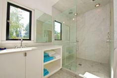 Brilliant idea to do sliding mirror across window for privacy, then light.Palo Alto Contemporary Remodel - modern - bathroom - san francisco - Mueller Nicholls Cabinets and Construction Bad Inspiration, Bathroom Inspiration, Bathroom Ideas, Bathroom Vanities, Bath Ideas, Bathroom Stuff, Remodel Bathroom, Bathroom Layout, Bathroom Fixtures