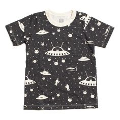 Buy Winter Water Factory Organic Kids Clothing - Outer Space Charcoal Tee - in Toronto and throughout Canada. Cool Kids T Shirts, Brooklyn, Space Fashion, Kids Fashion, Shops, Nyc, Winter Tops, Organic Baby Clothes, Children's Boutique