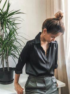 Kaffee Frauen Satin Button Down Solid Kragen Shirts Langarm Bluse