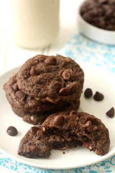 Soft, chewy, and gooey - these Double Chocolate Coconut Cookies are the perfect companion to dunk into a glass of milk.
