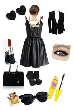 Girls night out outfit by aysiastyle on Polyvore featuring polyvore fashion style Chicwish Balmain MICHAEL Michael Kors Betsey Johnson Oliver Peoples MAC Cosmetics Maybelline Burberry clothing