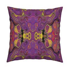 Catalan Throw Pillow featuring WILD FLOWER KALEIDOSCOPE XL LAVA LAMP FUCHSIA YELLOW by paysmage | Roostery Home Decor