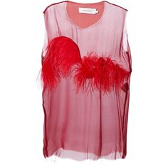 MARQUES ALMEIDA feather applique chiffon vest ($410) ❤ liked on Polyvore featuring outerwear, vests, tops, chiffon vest, vest waistcoat, red vest and feather vest