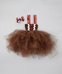 Take a look at this Brown Gingerbread Tulle Dress & Bow Clip by Enchanted Fairyware Couture on #zulily today!