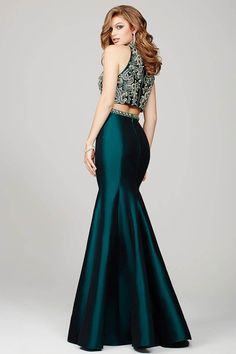 Green Two-Piece Mermaid Prom Dress 32562 - Prom Dresses