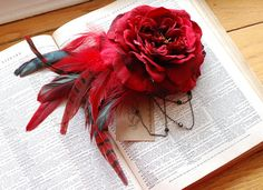 Red Flower Feather Hair Clip/ Flower Fascinator/ by LilyMairi, $36.00