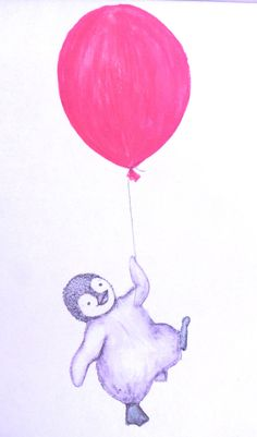 Nursery art penguin and balloon water colour by mylovebubble