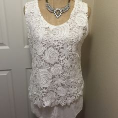 ❗️SALE❗️White Lace Sleeveless Blouse Excellent used condition, only worn a couple times. Made in Italy, bought in Spain. 100% polyester. Has no size tag, but it's a Large. Please ask for measurements if you are unsure of fit. ❗️PRICE FIRM UNLESS BUNDLED❗️ Boutique Tops Blouses