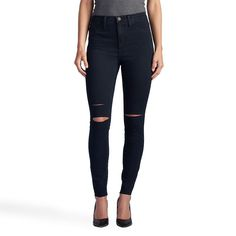 Women's Rock & Republic® Kashmiere Ripped High Rise Jean Leggings, Size: 6 T/L, Dark Blue