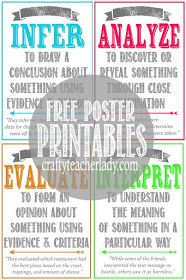 Free set of printable CRITICAL THINKING SKILLS Posters! Great for any secondary classroom! They come in two sizes! Critical thinking chart, poster/handout, easy to use/helpful reminder, colorful and easy to use 6th Grade Ela, 6th Grade Reading, 5th Grade Classroom, Middle School Classroom, History Classroom, Middle School Science, Science Classroom, Classroom Ideas, Classroom Organization