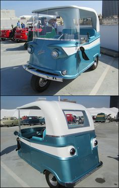 """1959 Trident R Three Wheeler. Made by Taylor-Dunn Manufacturing. Production of the first electric trucks started in 1951 and were sold to farmers and ranchers. In1959, Taylor-Dunn came out with the model """"R"""" Trident three wheeler , powered by a 24 volt electric motor it had a fibreglass body and was steered by a tiller .They made these until 1963"""