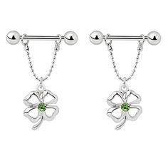 IPINK Green Zircon Jewelry 4 Leaf Clover Nipple Dangle Shield Bar Ring by IPINK -- Awesome products selected by Anna Churchill