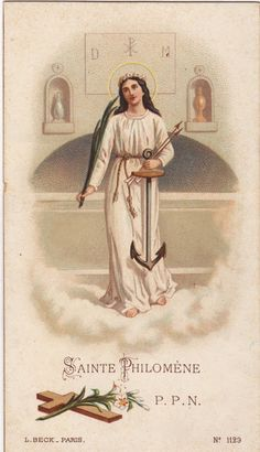 Saint Philomena, pray for us Catholic Confirmation, Catholic Art, Catholic Saints, Patron Saints, Roman Catholic, Religious Art, Vintage Holy Cards, Religion Catolica, All Saints Day