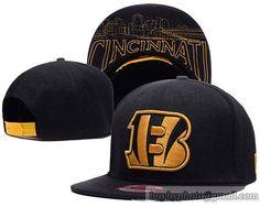 Cincinnati Bengals Snapback Hats Black Metallic Gold