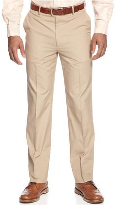 $54, Tommy Hilfiger Pants Khaki Cotton Trim Fit. Sold by Macy's. Click for more info: https://lookastic.com/men/shop_items/346702/redirect