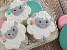 """350 Likes, 17 Comments - Amy Clough (@amy_cloughd9cookies) on Instagram: """"Sweet little Easter lambs  #decoratedcookies #customcookies #eastercookies"""" sugarbelle's stacking flower cutter"""