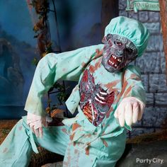 Save yourself, 'cause this doc's looking kinda . Get your scrubs on in a blood-n-gore Zombie Doctor costume. city and # halloween Zombie Couple Costume, Scary Halloween Costumes, Halloween 2018, Witch Doctor Costume, Stupid, Scrubs, Blood, Dog, City