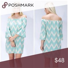 ✌🏻️NEW✌🏻️ Mint Chevron Dot Dress Model is wearing size S. MEASUREMENTS WILL BE AVAILABLE SOON. 100% Polyester. Stunning off the shoulder dress. S (2-4), M (6-8), L (10-12). BUNDLE AND SAVE 30% The Blossom Apparel Dresses Mini