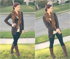 Leggings, boots, lacy cami, cardigan, statement scarf, earrings.