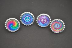 4 Peace Sign Rings, You choose Finished or CRAFT kit, Plain or GLITTER epoxy, class gift idea, jewelry craft idea,beiber party favor