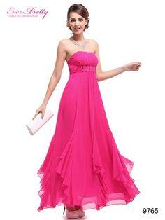BNWT Rhinestones Chiffon Pinks Empire Line Bridesmaid Dress - Ever-Pretty US #prom2014