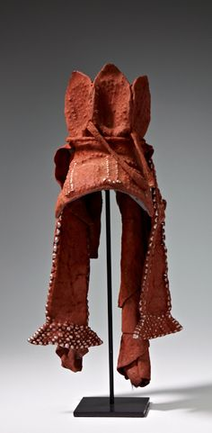 Africa | Woman's headdress (Ekori) from the Himba people of Namibia or southern Angola | Leather, iron and pigments | 20th century