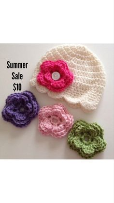 Newborn Hat Baby Girl Hat With 4 Button On Flowers Sizes Newborn to 10 Yrs Old by SugarHats on Etsy