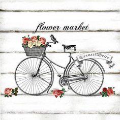 Vintage Bicycle - by CreatifBelle Images Vintage, Vintage Pictures, Vintage Prints, Vintage Art, Foto Transfer, Bicycle Print, Decoupage Paper, Bike Art, Flower Market