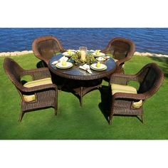 Darby Home Co Fleischmann 5 Piece Dining Set Finish: Mojave, Fabric Color: Sunbrella Canvas Mineral Blue