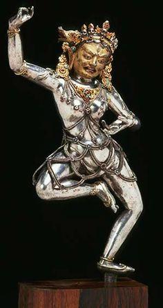 Vajravarahi Tibet, 15th C. Silver, cold gold, gems