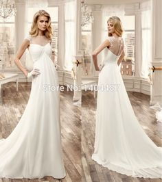 Romantic Chiffon Wedding Dresses Beach With Appliques See Through Court Train For Robe De Mariee From Reliable Large Bust