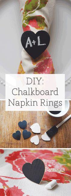 DIY Napkin Chalkboard Napkin Rings