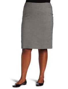 Ak Anne Klein Women's Plus Size Novelty Skirt, Black/sugar, 20w