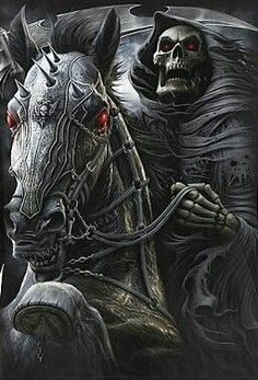Another possibility of the Grim Reaper as one of the four horseman in the Bible. Grim Reaper Art, Don't Fear The Reaper, Dark Fantasy Art, Dark Art, Reaper Tattoo, Horsemen Of The Apocalypse, Skull Pictures, Arte Obscura, Skull Artwork