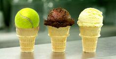 tennis ball ice cream cone