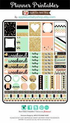 I have something for you... FREE Planner PRINTABLES! Gold Glitter, Black, Peach, Mint. DOWLOAD, PRINT & CUT. Great in your Filofax, Erin Condren, Life Planner, Agendas, Notecards, Labels, Notebooks, Stationary, Journals, Scrapbooking, Plum Paper. DIY Crafts, Cricut or Silhouette Projects & more... ENJOY! By /appleeyebaby/