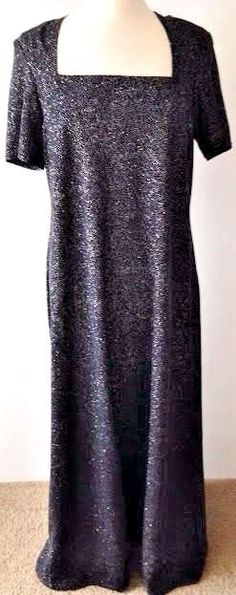 Onyx Nite Size 16 Formal Dress Black Sparkle Full Length Wendye Chaitin Made USA #OnyxNite #Bling #SpecialOccasion #Formal #EveningWear