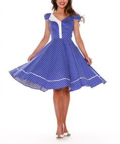 Blue & White Small Dot A-Line Dress - Plus Too