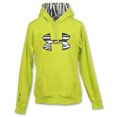 Lime green and zebra print under armour hoodies in womens