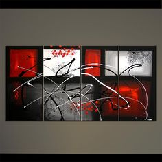 Moderne abstrait peinture rouge gris noir blanc par OsnatFineArt