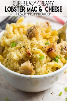 Lobster Mac and Cheese is a decadent, rich and creamy comfort food dinner! This pasta recipe has four cheeses making it so savory, and it is easy to make at home! Easy Pasta Recipes, Fish Recipes, Easy Dinner Recipes, Great Recipes, Chicken Recipes, Easy Meals, Delicious Recipes, Yummy Food, Cheese Recipes