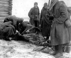 """""""All we were getting to eat was watery soup w/ pieces of rotten meat, a diet that was literally decimating us."""" Recalls Gabriel Temkin, who was taken prisoner in 1942 while in service of the Red Army. """"It was the flesh of dead horses killed and lying alongside the roads since the German air strikes in the first week of July that was now to become our staple. The horses, their swollen bellies and open wounds full of white maggots and other parasitic worms, were collected by prisoners."""