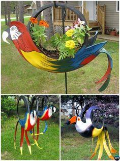 DIY Tire Parrot Planter - DIY Tire Planter Ideas #Gardening