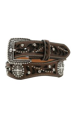 Ariat® Brown Scroll Inlay with Crystals Women's Scalloped Belt A1513002