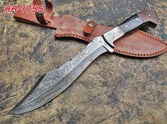 DAMASCUS CUSTOM HAND MADE BEAUTIFUL HUNTING  KNIFE,WITH GENUINE  LEATHER SHEATH. #BestSteelWarrior