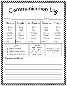 Behavior Plan. I don't like the color's meanings. I.e I would make green a great day, not a negative meaning. Otherwise, great idea. Make sure you write in pen! Those kids can be sneaky.