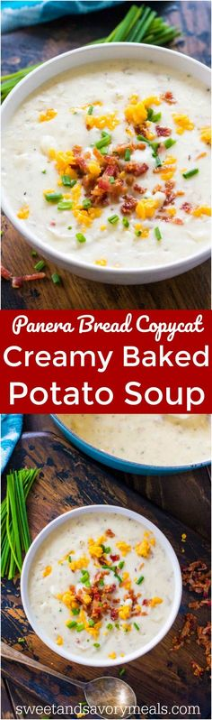 Panera Bread Baked Potato Soup Copycat is the famous chain's comforting soup made easy at home. Serve topped with bacon and crusty bread. #PaneraBread #copycatrecipe #soup
