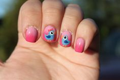 cute birds nail art